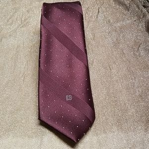 VTG Givenchy monsieur burgurandy silk blend tie